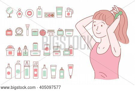 Drawn Young Girl With A Red T-shirt Ties Her Tail. A Large Set Of Simple Items Images Of Female Cosm