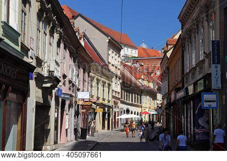 Zagreb, Croatia - June 30, 2019: People Visit Zagreb, Capital City Of Croatia. Zagreb Is The Largest
