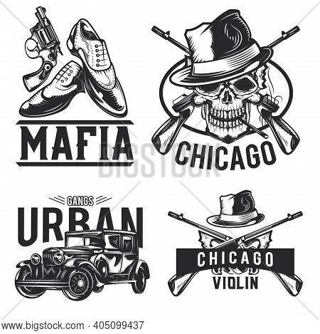 Set Of Mafia Emblems, Labels, Badges, Logos. Isolated On White