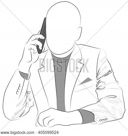 Contour Man In Jacket Talking On The Cell Phone Vector Illustration