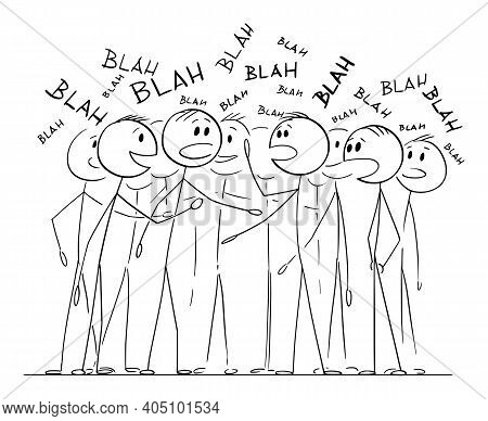 Crowd Or Group Of People Is Chattering About Nothing, Talking Or Speaking Blah, Vector Cartoon Stick