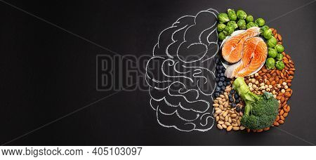 Chalk Hand Drawn Brain Picture With Assorted Food, Food For Brain Health And Good Memory: Fresh Salm