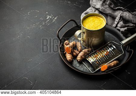 Healthy Hot Beverage For Immune System, Turmeric Golden Milk. Ingredients For Cooking Detox Curcuma