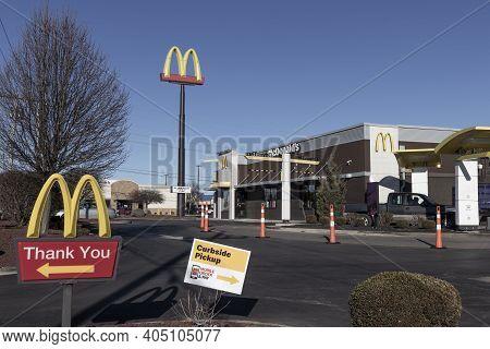 Kokomo - Circa January 2021: Mcdonald's Restaurant. Mcdonald's Is Offering Curbside Pickup And Drive