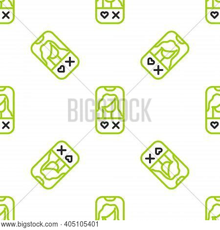 Line Dating App Online Mobile Concept Icon Isolated Seamless Pattern On White Background. Female Mal