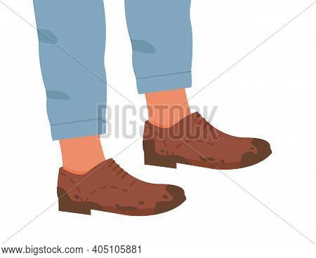Woman Or Man In Brown Color Flat Sole Trendy Brogue, Oxford Or Derby Dirty Shoes. Male Or Female Leg