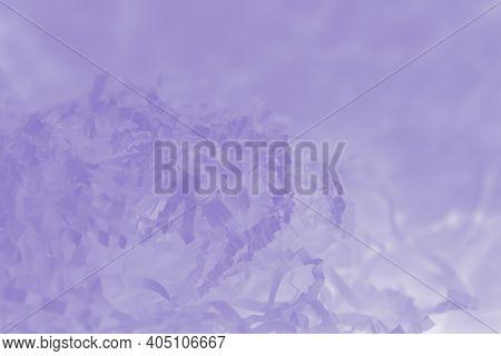 Light Violet Background Of Shredded Paper, Strips Of Sliced Corrugated Paper For Packing