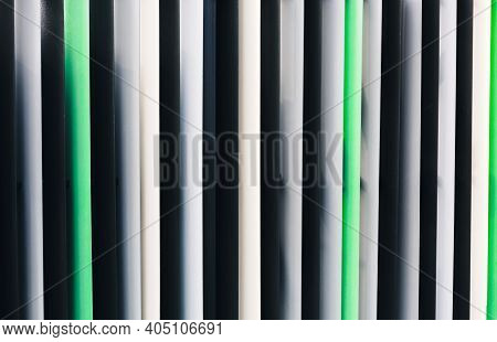 Background With Gray, Black And Green Jalousie Straight Vertical Lines