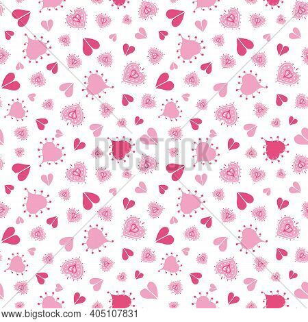 Doodle Heart Shape Pattern Seamless Vector Repeat Background. Girly Allover Design With Hand Drawn H