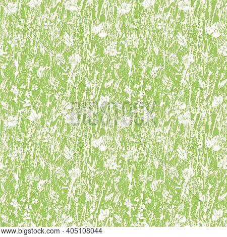 Abstract Texture Grassland Meadow Vector Pepeat Background. Seamless Irregular Textured Green Nature