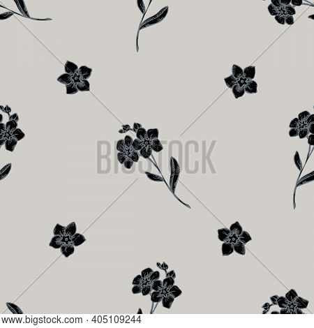 Seamless Pattern With Hand Drawn Stylized Forget Me Not Flower Stock Illustration