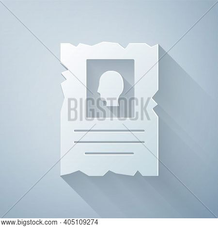 Paper Cut Wanted Western Poster Icon Isolated On Grey Background. Reward Money. Dead Or Alive Crime