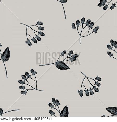 Seamless Pattern With Hand Drawn Stylized Hypericum Stock Illustration