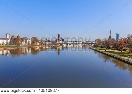 Panorama Frankfurt With The River Main. Park On The Banks Of The Main With Trees And Lawns In Sunshi