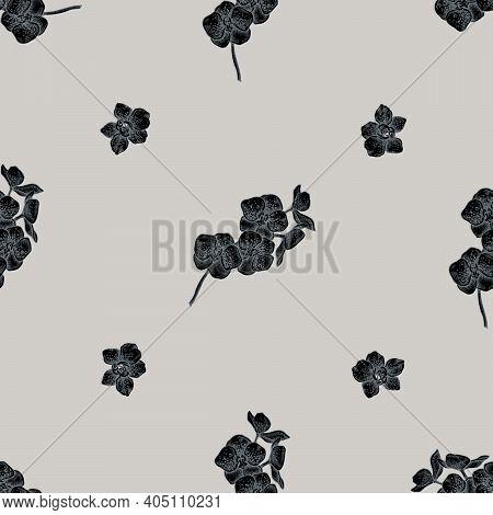 Seamless Pattern With Hand Drawn Stylized Phalaenopsis Stock Illustration