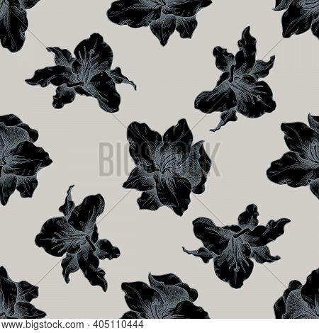 Seamless Pattern With Hand Drawn Stylized Lily Stock Illustration