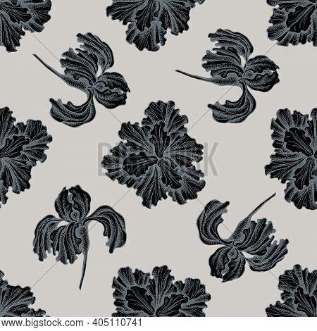 Seamless Pattern With Hand Drawn Stylized Iris Stock Illustration