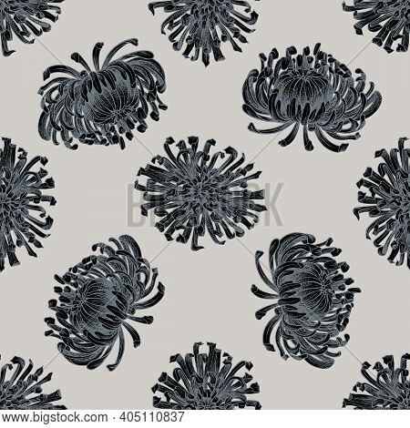Seamless Pattern With Hand Drawn Stylized Aster Stock Illustration