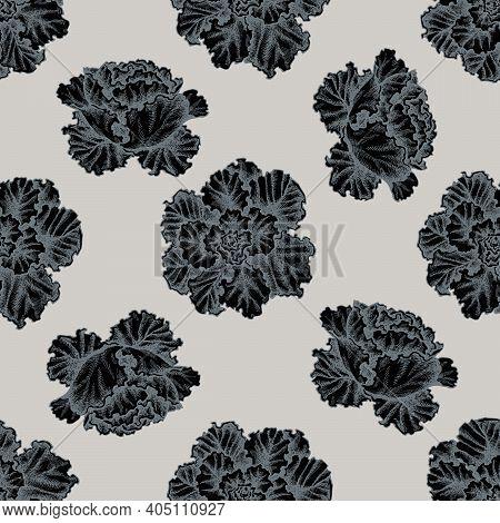 Seamless Pattern With Hand Drawn Stylized Decorative Cabbage Stock Illustration