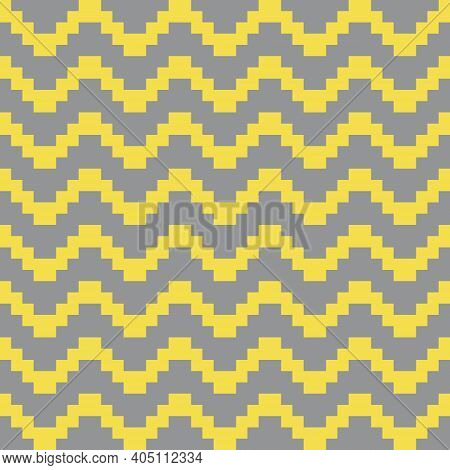 Geometric Seamless Pattern With Yellow Pixel Art Zigzag Lines On Gray Background. Abstract Chevron V