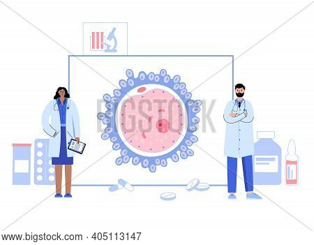 Woman Egg Cell Anatomy Icon. Fertilisation, Gynecology And Lab Research. Human Sexual Reproductive S