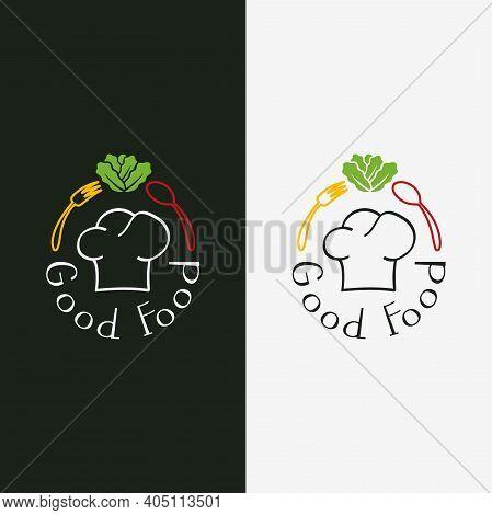 Good Food - Logo Design. Illustration Of Good Food As A Logo Design On A White Background