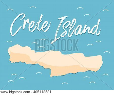 Crete Island Travel Map Flat Vector Illustration. The Drawing Of The Territory Of The Part Of Greece