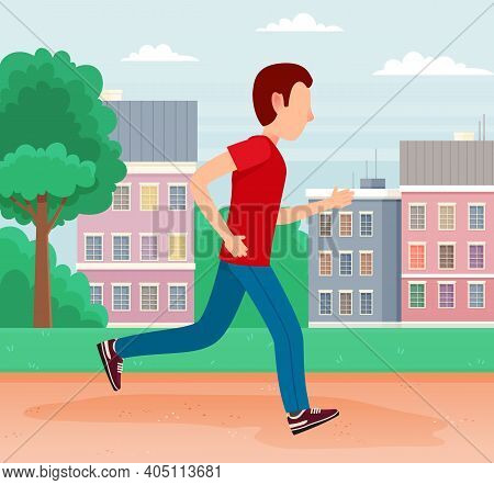 Young Man In A Hurry Runs Down The Street To Work. Worker Racing To Office Late For A Meeting. Job S