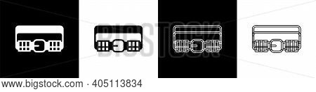 Set Hunting Cartridge Belt With Cartridges Icon Isolated On Black And White Background. Bandolier Si