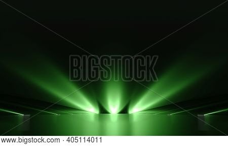 Futuristic Dark Podium With Green Lights. 3d Rendering.