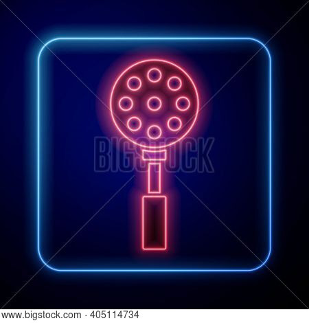 Glowing Neon Spatula Icon Isolated On Blue Background. Kitchen Spatula Icon. Bbq Spatula Sign. Barbe