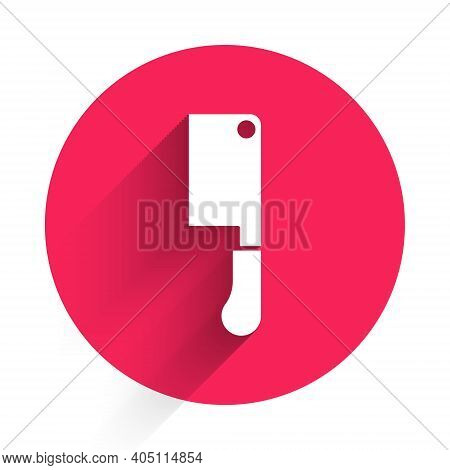 White Meat Chopper Icon Isolated With Long Shadow. Butcher Knife. Kitchen Knife For Meat. Butcher Kn