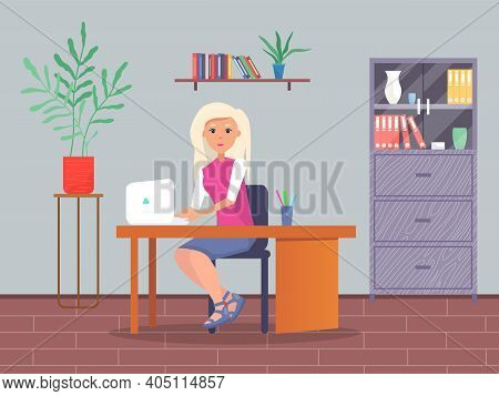 Young Blonde Business Woman At The Desk Is Working On The Laptop Computer Vector Illustration. Secre