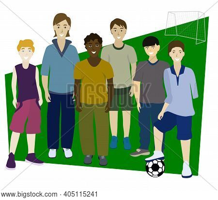 Portrait Of Friends. Multi-ethnic Football Team. Different People. Disabled Boy Without Left Arm. Fr