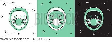 Set Doctor Pathologist Icon Isolated On White And Green, Black Background. Vector