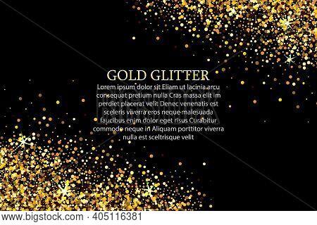 Festive Background With Falling Glitter Confetti, Golden Dust. Sparkling Glitter Border. Great For W