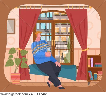 Young Man Sitting On Windowsill At Home Looking Out The Window. Flat Male Character Resting With Cof