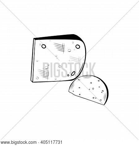 Hard Cheese Vector Icon In Sketch Style Hand Drawn Illustration Of Two Slices Of Parmesan And Gouda