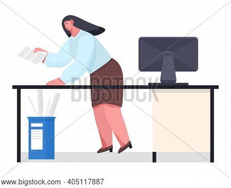 Chaos In Office. Unorganized Office Worker In Panic. Woman Stressing From Paper Work, Solving Diffic