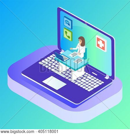 Isometric 3d Laptop. Doctor Have Online Consultation With Patient Through Videocall. Healthcare And