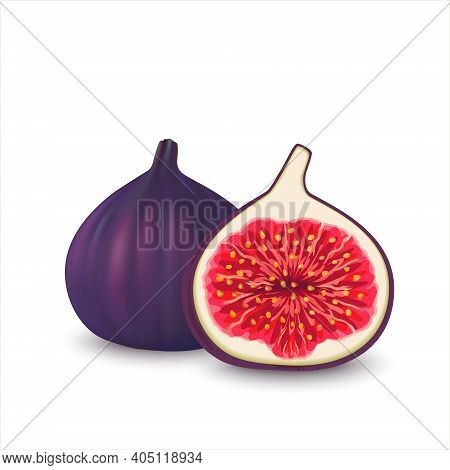 Realistic Whole And Half Cut Figs. Vector Illustration Of Fresh   Slice Figs Isolated On White Backg