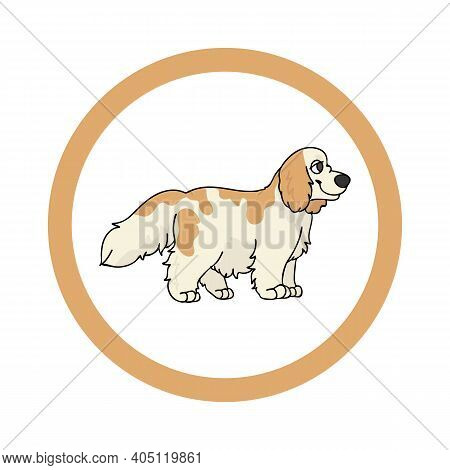 Cute Cartoon Cocker Spaniel In Circle Puppy Vector Clipart. Pedigree Kennel Doggie Breed For Kennel