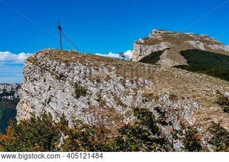 Col De Bataille, Ombleze, France. View On The Plateau Of Tete De La Dame In The Vercors Mountains In