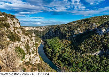 River In The Beautiful Ardeche Gorge In France. Blue River In Europe. Touristic Landscape In The Sou