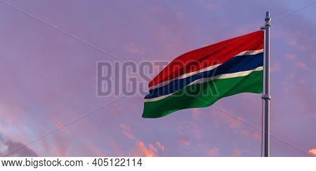 3d Rendering Of The National Flag Of The Gambia