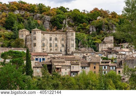 Stone Castle In The Medieval Town Of Vogue In Ardeche, Southern France