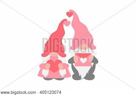 Love Gnomes Couple, Valentines Day, Wedding, Love Pink Design, Scandinavian Gnomes, Girl Gnome, And