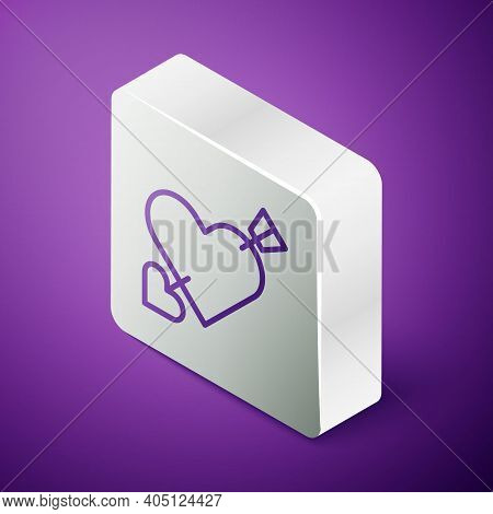 Isometric Line Amour Symbol With Heart And Arrow Icon Isolated On Purple Background. Love Sign. Vale