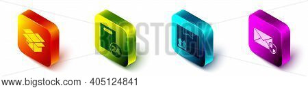 Set Isometric Carton Cardboard Box, Delivery With Cardboard Boxes, Cardboard Box With Traffic Symbol