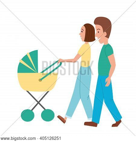 A Couple Of Parents With A Stroller And A Baby. Isolated White Background. A Happy Family Walks With